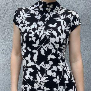 Black 'Velvet Torch' Floral Mock Neck Maxi Dress S